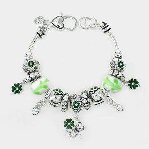 St Patricks Day shamrock charm bracelet